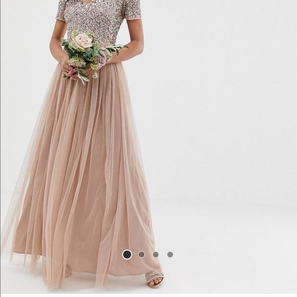5e7f5a80 ASOS Dresses & Skirts - ASOS Maya V Neck Maxi Tulle Dress - Taupe blush